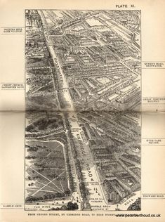 Inch Print (other products available) - Bird& view of London at the end of the century : from Oxford Street, by Uxbridge Road, to High Street, Notting Hill - Image supplied by Mary Evans Prints Online - print made in the UK Street Map Of London, Old Maps Of London, London Map, Old London, Oxford Street, London Blog, London Guide, Victorian Illustration, Victorian London