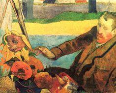 Paul Gauguin: Portrait of Vincent van Gogh painting sunflowers