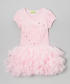 A lovely ruffled heart sweetens up this darling dress' totally twirlable tutu style. Puff sleeves add a princess-pretty touch to its comfy tee bodice for a look that's fit for a fairy tale.