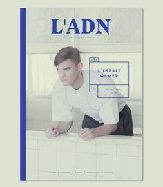 La couverture et son graphisme du design éditorial du magazine ADN réalisé par les graphistes français Jérémie et Violaine