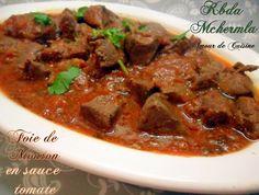 foie d'agneau / de mouton en sauce tomate - kebda mchermla