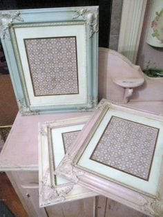 Old White Chalk Paint Frame French Wood Frame Vintage Wallpaper 11x14 Cottage Antoinette Pink Accents It only took me 25 years to get on the