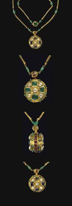 Byzantine Gold, Sapphire, Emerald, Garnet & Pearl Pendant c - Century AD Byzantine Gold, Byzantine Jewelry, Renaissance Jewelry, Medieval Jewelry, Ancient Jewelry, Old Jewelry, Antique Jewelry, Jewelery, Vintage Jewelry