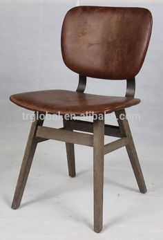 Vintage Real Leather Seat Dining Chair, Solid Oak Metal Back Chair, Solid Oak Leather Cafe Chair