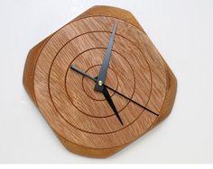 Turned Wood Wall Clock of Tornillo by WoodArtForLiving on Etsy, $90.00