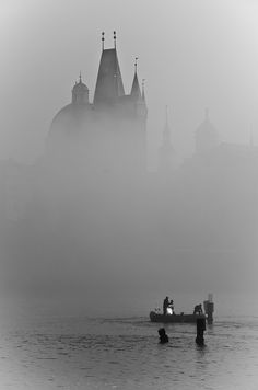 The Vltava River under the fog - Prague
