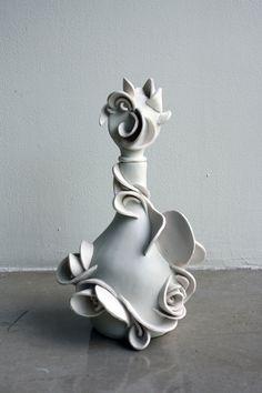 christina osheim - what gorgeous lines and sculpture Bottle Vase, Bottles And Jars, Glass Bottles, Antique Perfume Bottles, Vintage Bottles, Beautiful Perfume, Bottle Design, Inspiration, Decanter