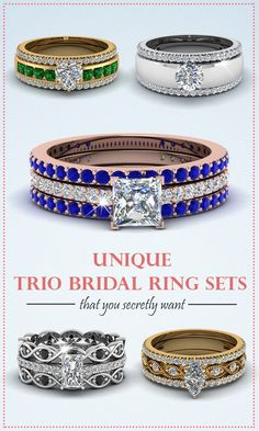None can Beat the Shine and Sparkle of the Trio Wedding Ring Set