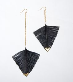 Statement Feather Earrings - Black Arrowhead Geometric Jewelry - Feather Earrings 3 . Blush Pink or Black feathers. $40.00, via Etsy.