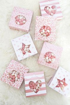 Candy pouch favors made using the Cricut Explore!