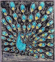 Peacock tile designed by Inge Exner 1961-1962, for Knabstrup, Denmark