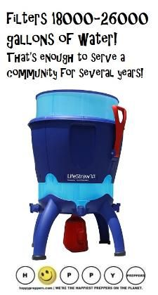 This is Lifestraw Community and it can filter 26,000 gallons of water! You may be familiar with the Lifewater straw, but did you know they have a gravity fed system that can provide water to an entire community? Lifestraw Community, pictured below,, can purify between 70,000-100,000 liters of water. That's 18,000- 26,000 gallons of water, which is enough to serve community settings for several years and it doesn't require electrical power or batteries. http://happypreppers.com/Lifestraw.html