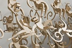 100 Life-Size Cardboard Monkeys and More: Enormous Cardboard Sculptures - Amazing Diy Projects Ideas Cardboard Sculpture, Cardboard Art, Paper Sculptures, Cardboard Furniture, Paper Art, Paper Crafts, Diy Crafts, Monkey Art, Monkey Business