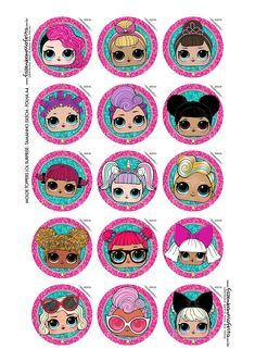 LOL Surprise: Free Printable Toppers for Cupcakes. Christmas Scenes, 1st Christmas, Party Printables, Free Printables, Printable Labels, Lol Doll Cake, Comic Party, Beatles Party, Cupcake Toppers Free