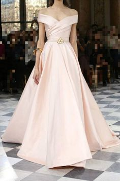 Generous A-Line Prom Dress, Off Shoulder Light Pink Prom Dress, Stain Long Prom Dress