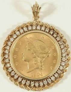 """Receive fantastic ideas on """"buy diamond pendant set"""". They are actually offered for you on our web site. Gold Coin Ring, Gold Coin Necklace, Coin Jewelry, Jewelery, Antique Jewelry, Silver Jewelry, Gold Pendent, Diamond Pendant"""