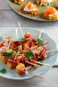 Melon & Prosciutto skewers. #holiday #recipes