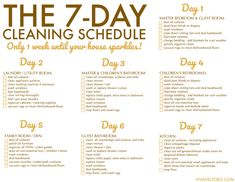 weekly house cleaning schedule