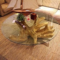 designer coffee tables | Furniture: Tree Stump Coffee Table With Round Glass Design, stump art ...