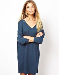 Image 1 ofASOS Dress With V-Neck In Crepe