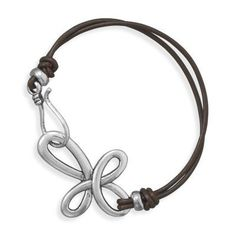 Fashion 7-inch Sideways Pewter Cross Brown Leather Bracelet *** Click image for more details.