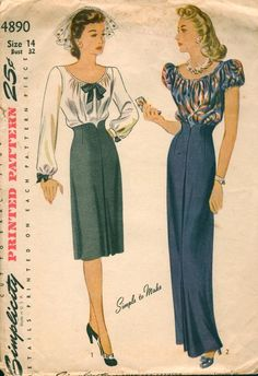 Simplicity 4890; ©1943; Misses' and Women's Blouse and Skirt in Day and Evening Lengths.