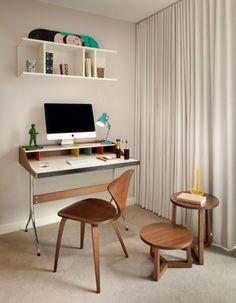 Retro Stühle-aus Holz Schreibtisch-Ideen für kleine Räume-Arbeitsplatz