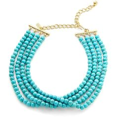 Kenneth Jay Lane Turquoise Beaded Choker Necklace ($44) ❤ liked on Polyvore featuring jewelry, necklaces, turquoise, turquoise stone jewelry, turquoise stone necklace, gold colored necklace, turquoise bead necklace and kenneth jay lane