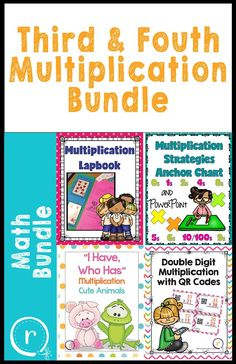 An intervention lapbook, task cards, a strategies poster and PowerPoint, and brag tags. Everything you need to supplement your multiplication unit and create some excitement about learning math facts! Multiplication Activities, Spelling Activities, Math Fractions, Maths, Reading Lessons, Math Lessons, Third Grade Math, Second Grade, Fourth Grade