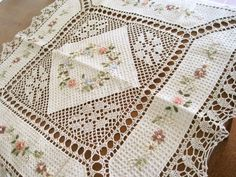 Hand Silk Ribbon Embroidered Crochet Lace Table Cloth   eBay