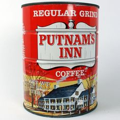 Vintage Folgers Coffee Tin Puzzle in Can 1970s GiveAway Promotion