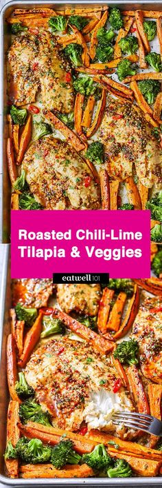 Roasted Chili-Lime Tilapia Fish – A spicy and tangy roasted white fish dinner. A flavor explosion on the flakiest tilapia fillets ever!