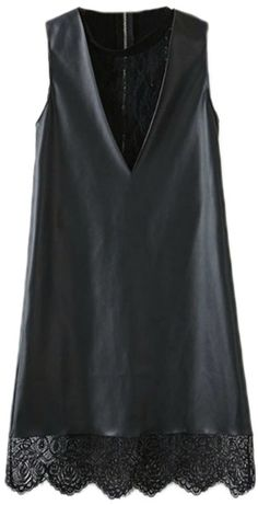 Romwe Panel Faux Leather Lace Crochet Black Vest Dress on shopstyle.com