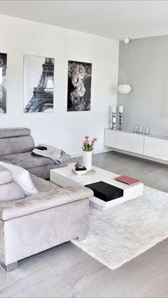 Cute Living Room, Decor Home Living Room, Room Decor Bedroom, Interior Design Living Room, Bedroom Ideas, Cozy Living, White Living Room Furniture, Art For Living Room, Gray Home Decor