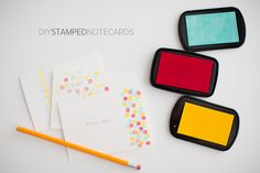 Make your own notecards with blank note cards, ink, and pencils! Easy Peasy! Thank you Hellobee!