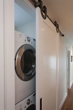 images washer and dryer in clothes closet slider | ... washer and dryer, hall laundry room, laundry room closet, barn door