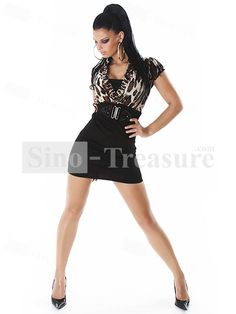 2013 New Leopard Sexy Pencil Skirt With Belt V Neck Dress 5f220c241