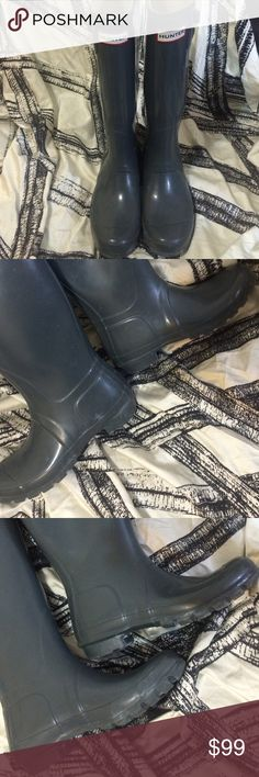 % AUTHENTIC HUNTER BOOTS Worn a few times only , they still in their first stage , have so many years to come of wear , really gorgeous even if no rain , they look so beautiful at any time just not in high temperature then I won't suggest , they are 100% authentic , you have 72 hours to check that ,by law and poshmark guide line , it's prohibited to sell nock off items as real ones Hunter Boots Shoes Winter & Rain Boots