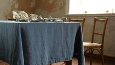 Stone Washed Linen Tablecloth. Table Linen. Natural Organic