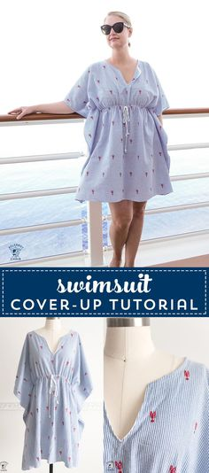 Learn how to make an easy and cute swimsuit cover-up. So simple to sew. A great cover-up for the beach, the pool or to take on a cruise. #freesewingpattern #sewingpatterns #swimsuitcoverups #bathingsuitcoverups #sewing via @polkadotchair