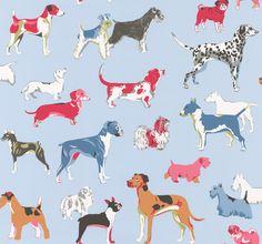 Jane Churchill Hot Dogs Blue Wallpaper main image
