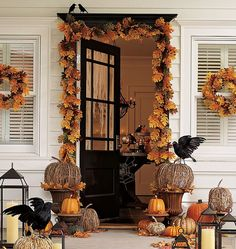 Decorated front porch Decor Halloween Fall