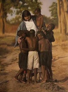 A beautiful representation of the Savior loving all God's Children.