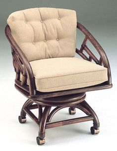 Rattan Specialties Chippendale 3020CAT Swivel Tilt Caster Chair Available  At Www.dinetteonline.com