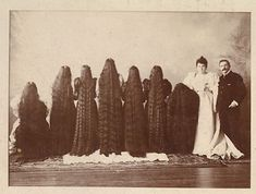 """The Amazing Seven Sutherland Sisters And Their 'Niagara Of Curls'"", with their parents, c. 1890s."