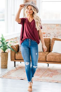 We are loving the simple style of our new Albany Wrap Tunic, and you will too! Our top features a wrap fit, v-neck, short cuffed sleeves, and a semi-loose cut. It is so soft and comfortable while also having a classic style! We love it worn with a form fitting pair of jeans or leggings! Cute Outfit Ideas, Cute casual Outfits Simple Style, Classic Style, Cute Casual Outfits, Cuff Sleeves, Jean Outfits, Plus Size Outfits, Love Fashion, Bell Bottom Jeans, Outfit Ideas