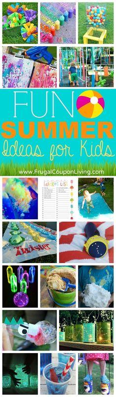Summer Bucket List Ideas for the Kids - we love these crafts, backyard activities, homemade recipes, and more on Frugal Coupon Living. Make it a fun summer with these DIY ideas for kids!