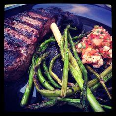 Fire grilled New York strip steak dinner