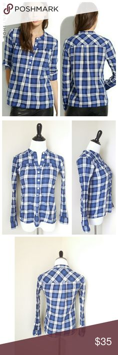 {madewell} smocked plaid pullover A gorgeous smocked blue plaid pullover top from Madewell.  Trendy and chic. Pair with skinny jeans and leather booties for a casual yet polished look!  Gently worn. Size XS. Madewell Tops