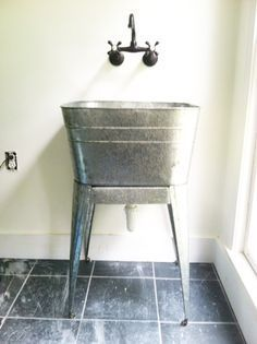 Old Fashioned Wash Basin Sink Galvanized Laundry Tub With Legs More Laundry Room Sink Laundry Tubs Galvanized Wash Tub